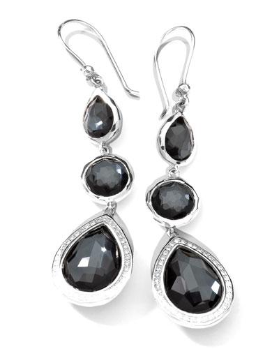 Stella 3-Drop Earrings in Hematite & Diamonds
