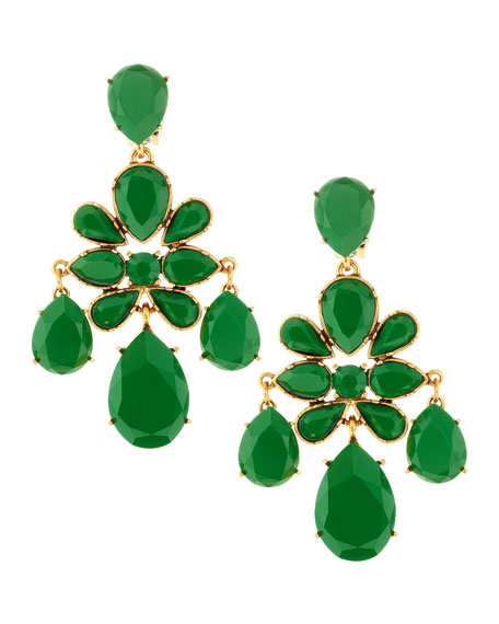 Faceted Chandelier Clip On Earrings Kelly Green