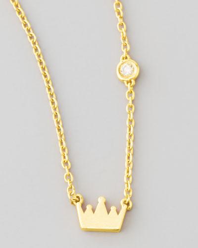 Crown Bezel-Diamond Pendant Necklace