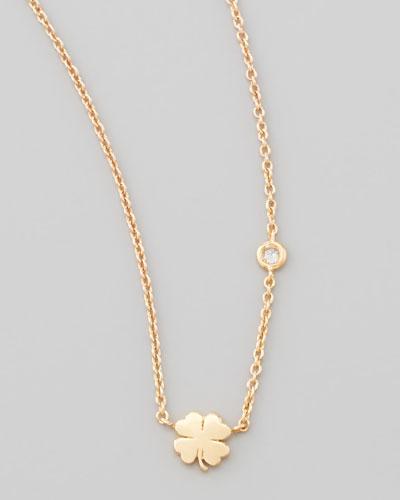 Clover Bezel-Diamond Pendant Necklace