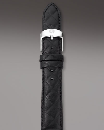 16mm Quilted Leather Watch Strap, Black