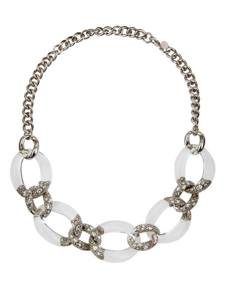 lucite ben geometric amun necklace silver jewelry in clear metallic lyst