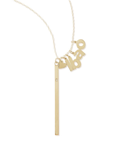 I Heart Necklace with Your Choice of 4 Letter Charms