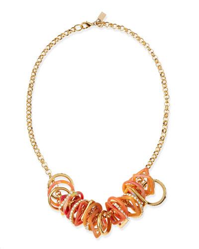 Geometric-Link Bib Necklace, Orange