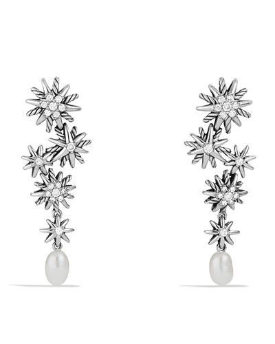 Starburst Drop, Earrings with Pearls and Diamonds