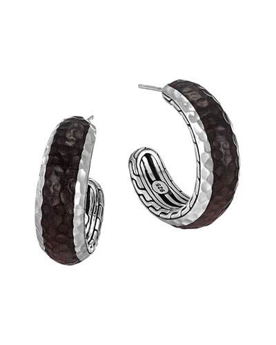 Palu Silver & Rosewood Small Hoop Earrings