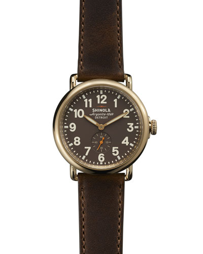 The Runwell Yellow Gold Watch with Brown Leather Strap, 41mm