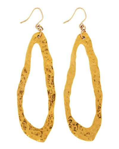 Hammered 18k Gold Plate Oval Earrings