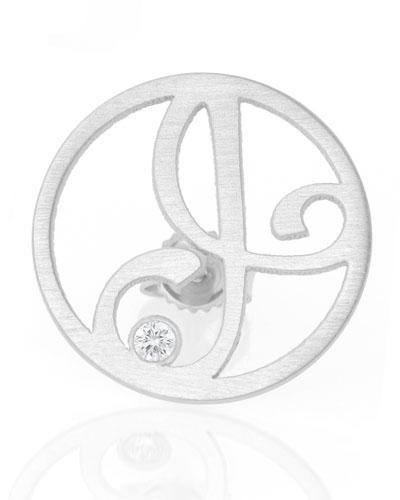 Left Singular Mini One-Initial Diamond Stud Earring, Rhodium Silver