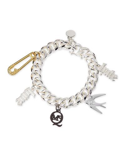 Shiny Silvertone Love/Hate Charm Bracelet