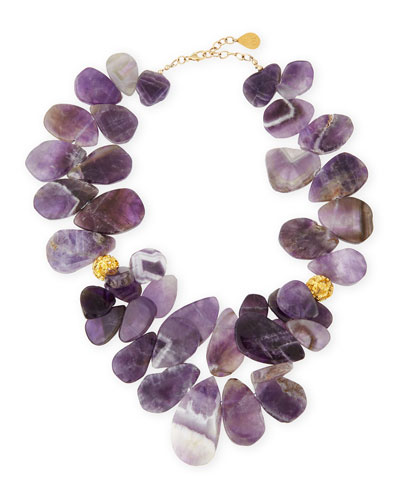 Amethyst Teardrop Cluster Necklace