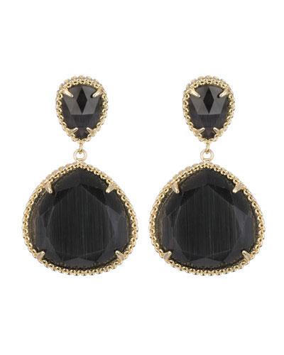 Penny Post Earrings, Black Cat's Eye
