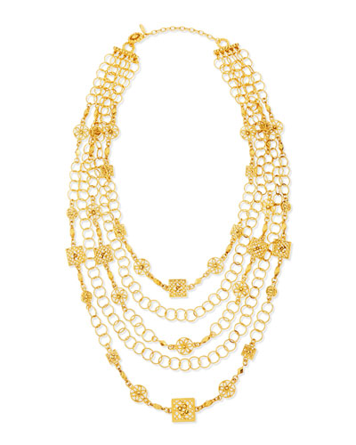24k Yellow Gold Plated Medallion Ornament Multi-Strand Necklace
