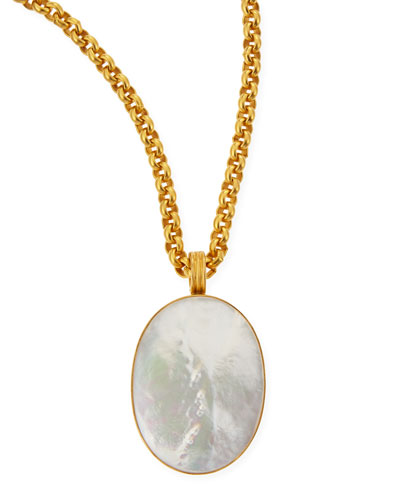 "Mother-of-Pearl Oval Pendant Necklace, 33""L"