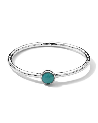 Sterling Silver Rock Candy Hinge Bangle in Turquoise