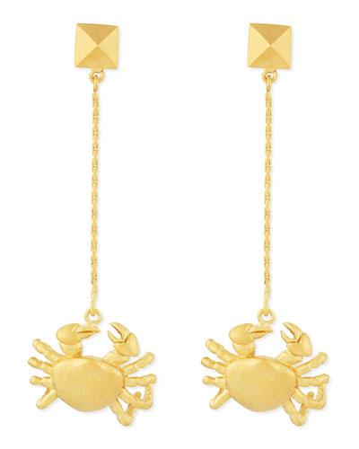 Golden Cancer Zodiac Earrings