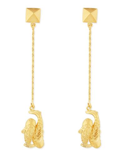 Golden Pisces Zodiac Earrings