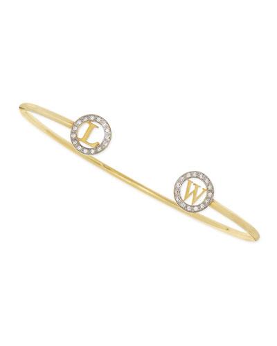 14k Initial-Cap Cuff Bracelet with Diamonds