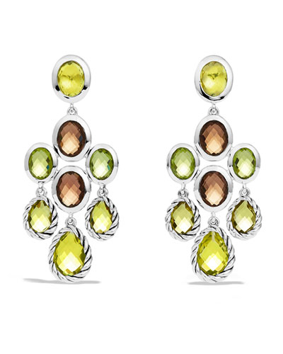 Color Classics Chandelier Earrings with Lemon Citrine, Smoky Quartz, and Peridot