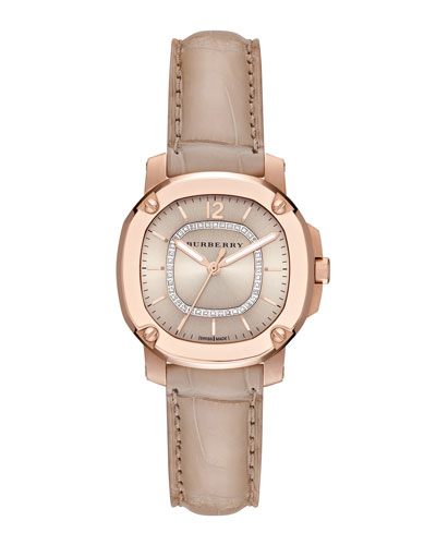 34mm Octagonal Rose Golden Watch with Diamonds & Alligator Strap