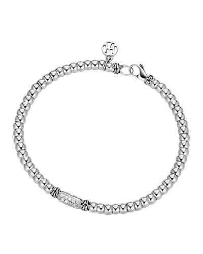 Bedeg Sterling Silver Beaded Bracelet with Diamonds