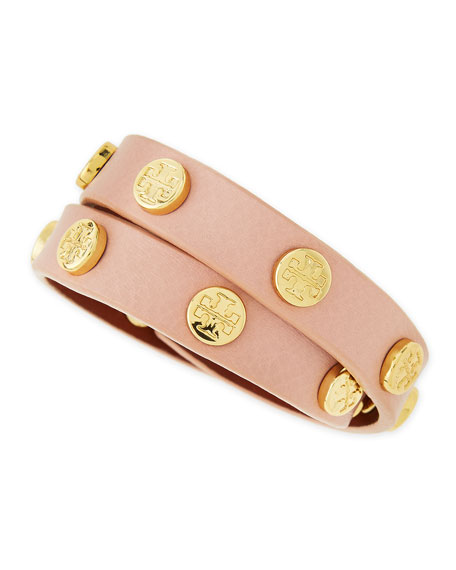 Logo Studded Double Wrap Leather Bracelet Petal Pink