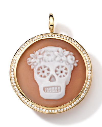 18k Gold Round Skull Cameo Charm with Diamonds