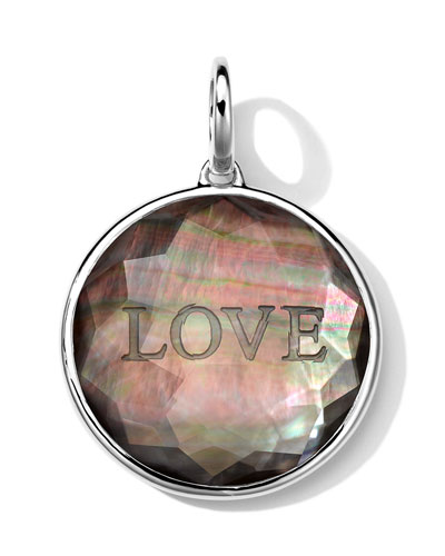 Sterling Silver Carved Intaglio LOVE Charm, Black Shell Doublet