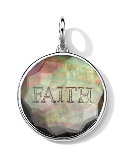 Sterling Silver Carved Intaglio FAITH Charm, Black Shell Doublet
