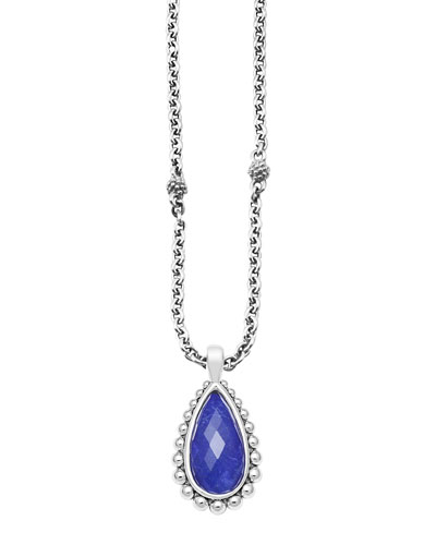 Silver Beaded Maya Lapis Teardrop Pendant Necklace