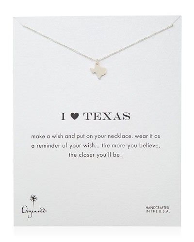 I Heart Texas Pendant Necklace, Sterling Silver