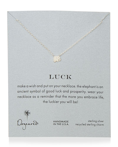 Luck Elephant Pendant Necklace, Sterling Silver