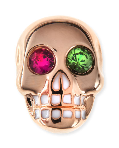 14K Rose Gold Gemstone Skull Single Stud Earring