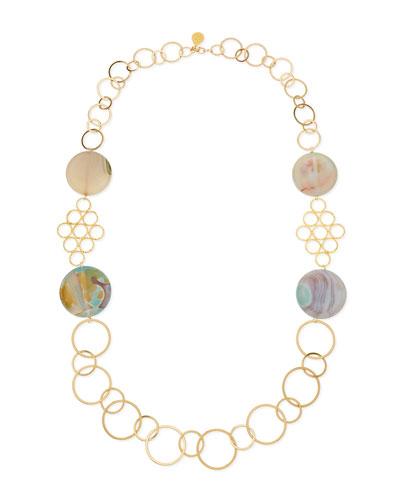 Round Chalcedony Multi-Circle Necklace, Sea Foam