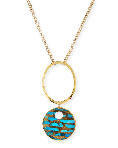 Long Copper-Infused Turquoise Pendant Necklace