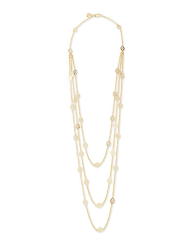 Gold-Plated 3-Strand T-Logo Necklace