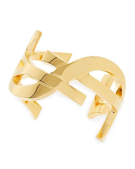 ee27c4af06165b Saint Laurent Golden YSL Logo Cuff Bracelet