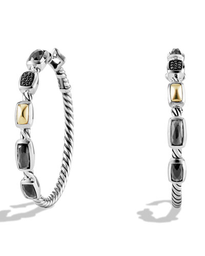 Confetti Hoop Earrings with Crystal, Black Diamonds, and Gold