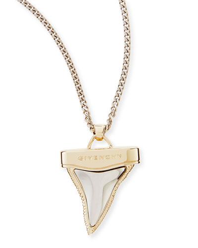 Golden & Gunmetal Doubled Shark Tooth Necklace, 34