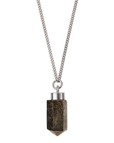 Silvertone Pyrite Pendant Necklace