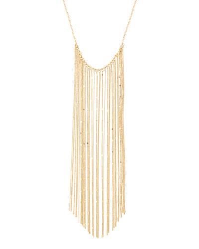 Long Golden Chain Fringe Necklace