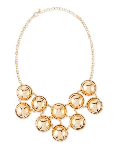Ball Bib Necklace, Yellow Gold-Plate