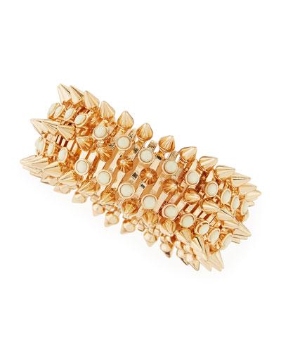Large Spike & Stones Bracelet, Yellow Golden