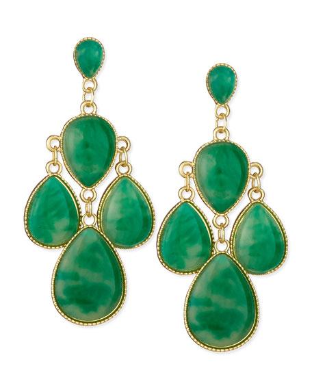 Jules smith emerald chandelier earrings golden emerald chandelier earrings golden mozeypictures Gallery