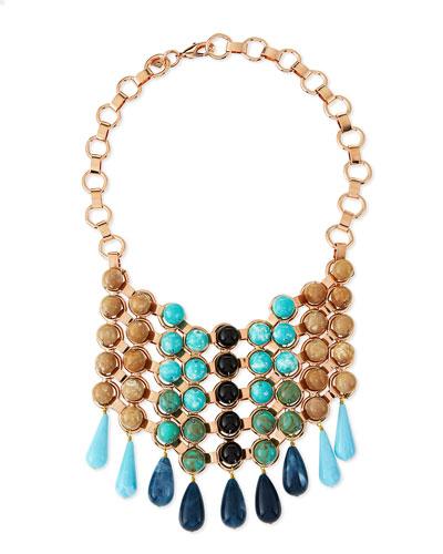 Medine Rose Golden Turquoise Bib Necklace