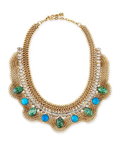 Oceana Turquoise Cabochon Bib Necklace