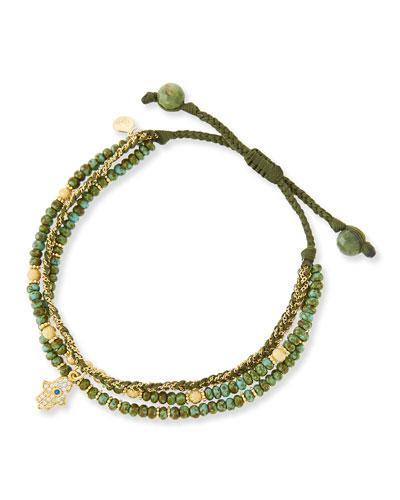 3-Strand Green Beaded Bracelet with Hamsa Charm