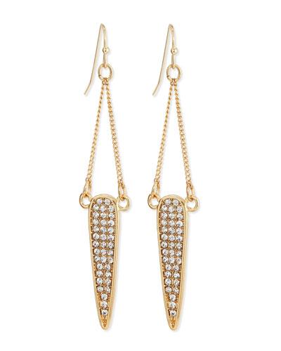 Pave Dangle Teardrop Earrings, Clear/Golden
