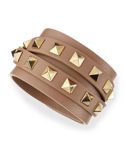 Multi-Wrap Rockstud Leather Bracelet, Taupe