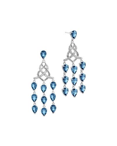 Batu Classic Chain Silver Chandelier Earrings with London Blue Topaz